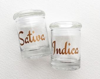Stash jar, 2 pc, SATIVA INDICA,weed jar, glass stash jar, stoner gift, stoner, gift women upscale classy cannabis Marijuana 420 ganja jar