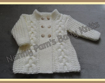Hand Knitted baby girls cream Aran cardigan Ages 3-6 months