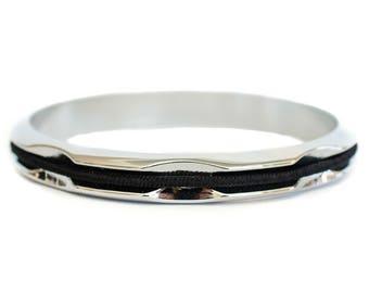 Hair Tie Bracelet, Hair Tie Holder, Hair Tie Bangle - Silver