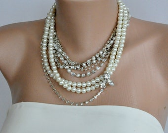 Bridal Jewelry Chunky Bridal Rhinestone and Pearl Necklace