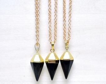 Black Onyx Pendulum Pendant Necklace/ Black Onyx Pendulum Gemstone Necklace/ Pendulum Geometric Pendant Necklace Fashion (EP-NPG19-BO)