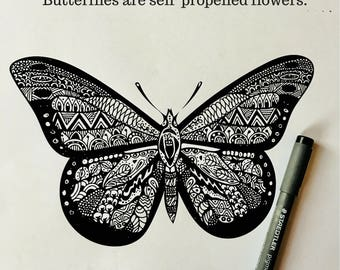 INSTANT download BUTTERFLY, home decor, wall art, printable HQ, cute gift, vector design, hand drawn, coloring pages for adults and kids