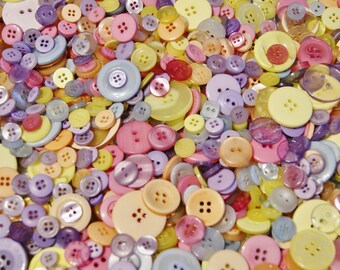 50 Bold Pastel Buttons -  Blue, Lavender, Yellow, Melon, Pink Mix   Grab Bag Crafting Jewelry Collect (194)
