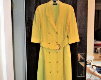 Vintage 80s Yellow Dress 14 Double Breasted Belt Short Sleeve Button Front Poly Blend