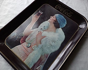 Coca-Cola Advertising Serving Tray 13x11 Vintage 1973 Woman in White Fox