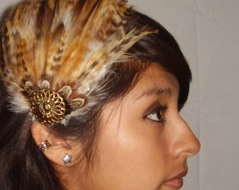 TIFFANY- Brown And Copper Feather Fascinator Hair Clip Or Headband,Weddings, Bridesmaids Set, Burlesque Headpiece, Rustic