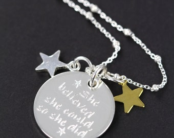 Graduation Gift Necklace, She Believed She Could So She Did, Personalized Jewelry 925 Sterling Silver