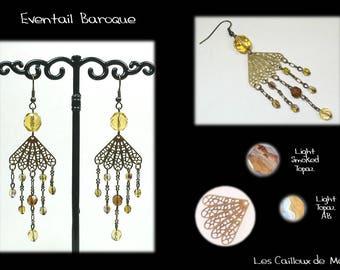 Earrings 'Range Baroque' - BRONZE + 4 Topaz