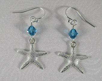 beach earrings beach lovers gift silver starfish earrings ocean earrings nautical earrings summer earrings crystal dangle earrings