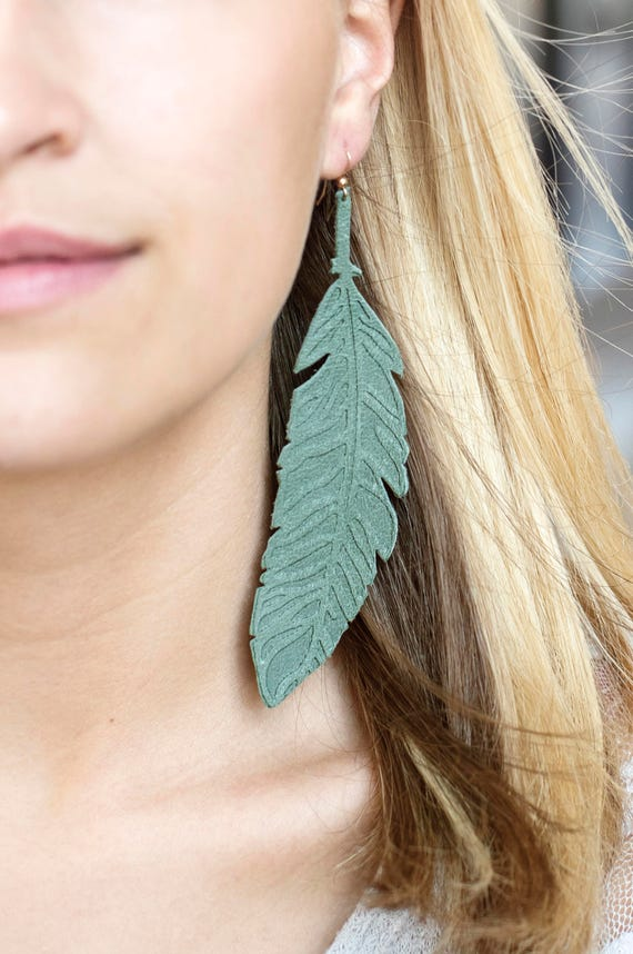 Moss/Green Embossed Leather Feather Earrings