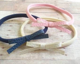Nylon Headband Set, Leather Bow Headband, Baby Bow Headband, Pink Leather Bow, WHite Leather Bow, Girl Headband Bow, Kids Nylon Headbands