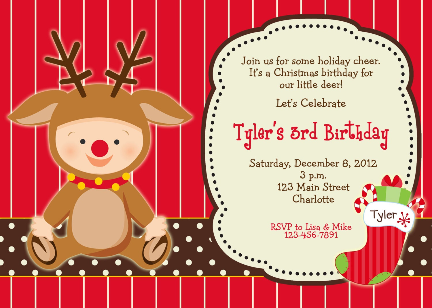 Christmas Birthday Party Invitation Reindeer Christmas