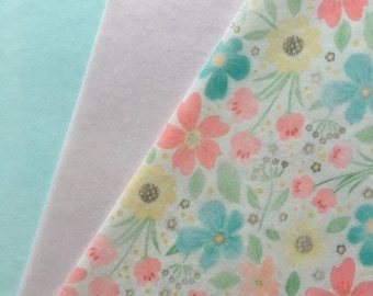 Flower Print with Pastel Pink and Blue Edible Wafer Paper