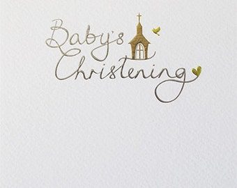 Christening card for a Baby, Baby's Christening card, Stylish modern foiled and embossed Baby Christening card,