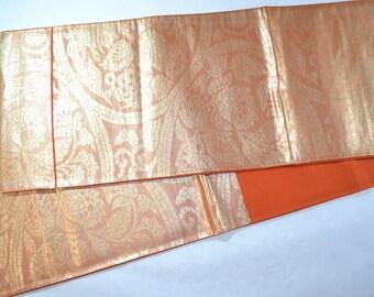 Vintage Japanese Silk Fukuro Obi Belt - Orange brown & Gold Karakusa Flower - 4 metres long
