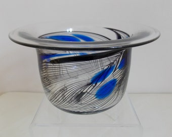 Beautiful British studio glass bowl with rough pontil mark, pulled feather design, flared rim, etched signature to the base handblown
