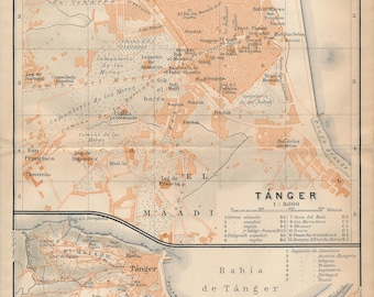 1911 Tangier Morocco Antique Map