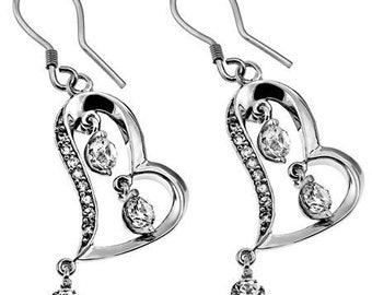 CZ Dangling Heart Earrings
