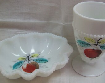 Westmoreland Beaded Edge Milk Glass Crimped Oval Nappy plus Footed Tumbler w Apples Beautiful