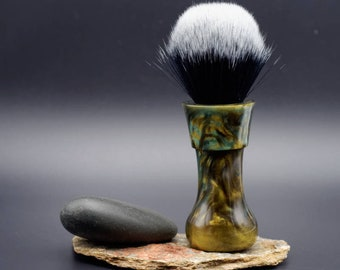 Shaving Brush - Hand-Made with hand-poured Green and Gold Resin Handle and a Choice of Knots