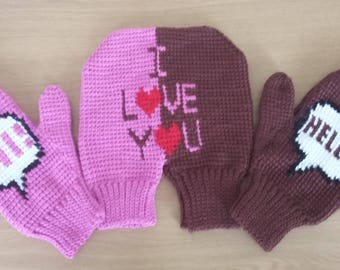 Hand knitted gloves for two-Gift for them-Birthday gift-Warm-Soft-Set-Knit accessories-Gift for wedding anniversary