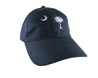 South Carolina State Flag Embroidery on an Adjustable Navy Blue Structured Premium Cotton Twill Classic Baseball Cap