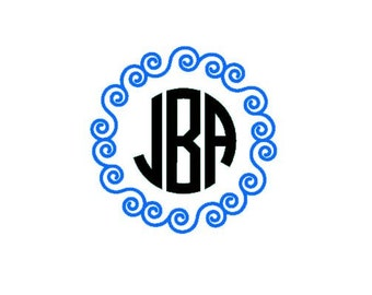 Swirly Circle Monogram Decal / Monogram sticker /laptop monogram / bottle monogram / car monogram / personalized monogram / car decal