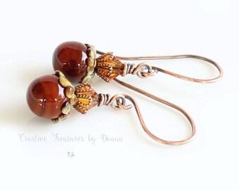 Copper Acorn Earrings Copper Earrings Brown Rust Acorn Lampwork Headpins Swarovski Crystals Fall Earrings Autumn Earrings