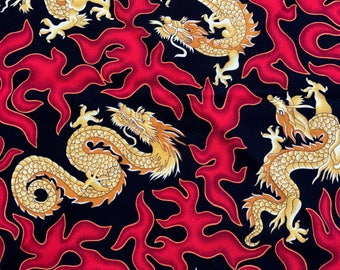 Gold Japanese Dragons and Crimson Fire on a Jet Black Background & Red Fringe Bandana