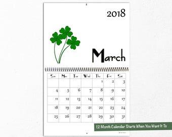 2018 Seasons Wall Calendar, Cute Illustrations, Seasonal Design, Gift For Mom or Grandma, Coworker Gifts, Winter, Spring, Summer, Fall