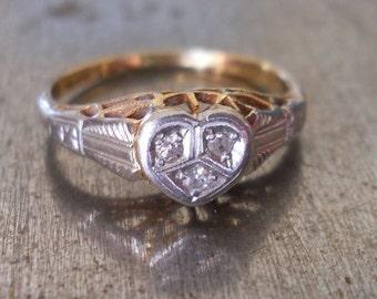 Edwardian Engagement Ring -Unique Engagement Ring-1920s Engagement Ring -Art Deco Heart Ring-Vintage Wedding Ring- Platinum Diamond Ring