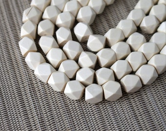 10mm White Geometric Polygon Wood Beads - Bleached - 15 inch strand