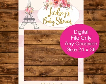 Personalized Photo Booth Frame, Printable 24 x 36  Selfie Photo Prop, Watercolor Paris Photo Prop Frame, Eiffel Tower Photo Booth Prop