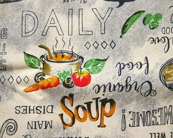 Chef's Menu - Cotton Linen Blend - Food Theme Fabric - Half Yard