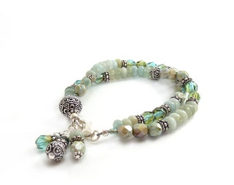 Aquamarine Bracelet - Pale Blue Multistrand Gemstone Bracelet - Silver Bali Beads - Czech Fire Polished Glass