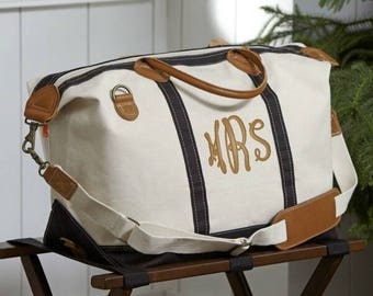 Personalized Weekender Bag, Monogram Weekender Bag, Monogrammed Canvas Tote Bag, Bridesmaids Gift, Monogram Bag, Personalized Duffle Bag
