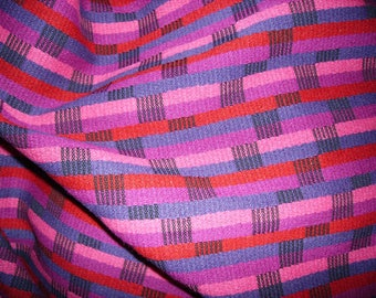 No. 163 - wool fabric thick multicolored weave patterned purple - Fuchsia - pink