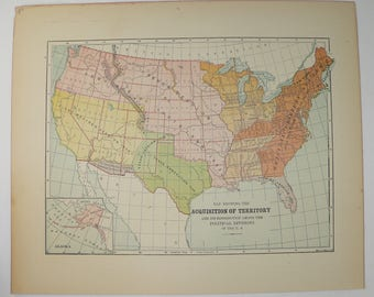 1896 United States Map, US Map Territory Growth, Historical Map United States, US History Buff Gift for Teacher, Old Map of United States