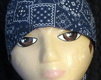 Handmade Blue Bandanna Chemo Cap, Skull Cap, Motorcycle, Head Wrap, Hair loss, Bald, Hats, Do Rag, Surgical Cap, Alopecia, Caps,Helmet Liner