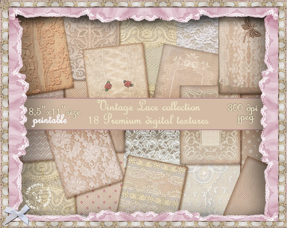Vintage LACE BACKGROUND Shabby Chic Printable Lace Paper Pack