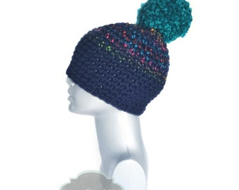 Navy and Teal Chunky Beanie with Pom, Green and Blue Crochet Hat, Colorful Winter Beanie With Puff, Jewel Tone Pom Pom Knit Hat, Ski Cap