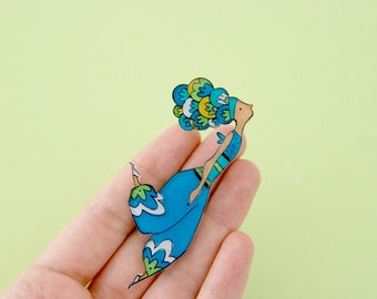 Blue fairy brooch or necklace, pixie pendant, illustrated jewelry, wearable art