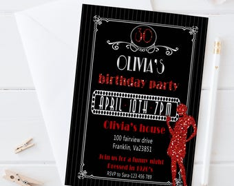 Roaring 20s Invitation / Digital Printable Glitter Birthday Invite for Adults / DIY Party