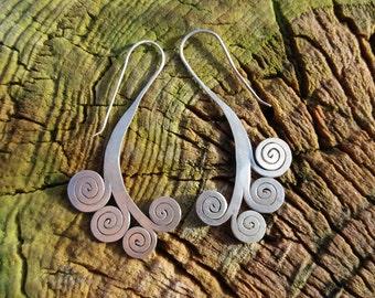 925 silver tribal earrings. Spiral Design