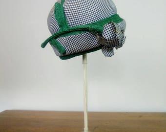 Vintage 60s black and white houndstooth flower topper hat Mr John Jr