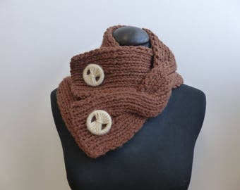 Wool Cowl twist with hand made buttons, hand knit