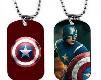 DOG TAG NECKLACE - Captain America 3 Avengers Superhero Comic Book Art