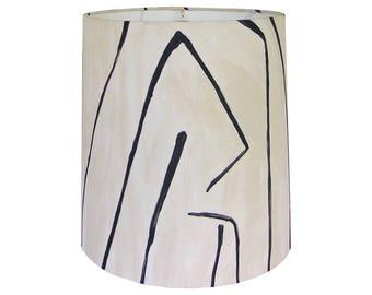 Geometric Lamp Shade, Fabric Lamp Shade Drum, Table Lamp Shades, Custom Lamp Shade, Multiple Sizes, Black and Oatmeal, Groundworks Graffito