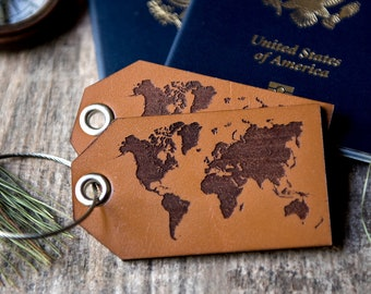 Personalized leather luggage tag, Custom leather luggage tag, Luggage tag with Map