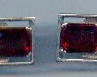1960s Cufflinks Red Mesh Silvertone